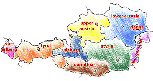 A map of Austria with the names of the federal provinces. Capitals are marked by red spots.