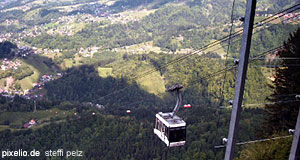 A cable-car takes tourists up the mountains near Dornbirn in Vorarlberg