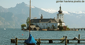 Schloss Orth Castle lies on an island on Lake Traunsee just by Gmunden