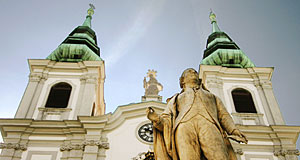 Haydn memorial in front of Mariahilferkirche in Vienna's sixth district