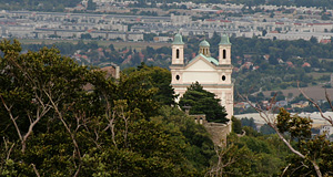 The Church on Leopoldsberg with the plains East of Vienna in the background
