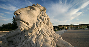 A lion guarding the front gates of Schönbrunn, the Imperial Palace