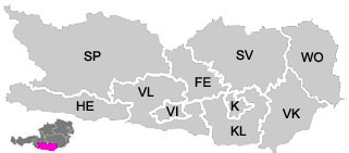 Map of the districts (Bezirke) of Carinthia (Kärnten)