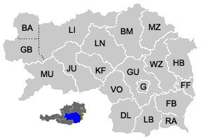 Map of the districts (Bezirke) of Styria (Steiermark)