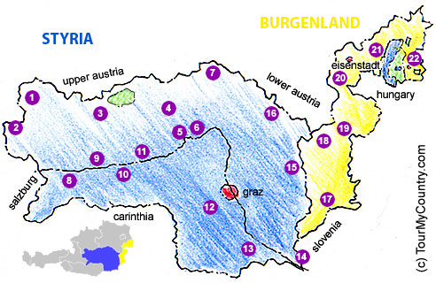 Map of Styria & the Burgenland with major Sightseeing Attractions