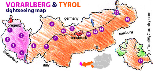 A Map with Sightseeing Attractions of Vorarlberg & Tyrol in Austria