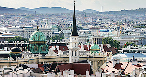 The Michaelerplatz area in Vienna as seen from the Stephansdom Cathedral (tower)