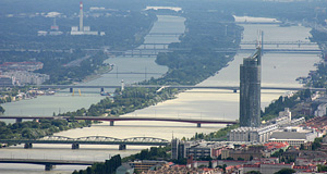 The Millennium Tower with the Donauinsel, the artificial island in the Danube of Vienna