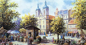 An admittedly tacky painting of the Rochuskirche Church in Vienna from the 19th century