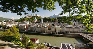 View on the city of Salzburg with Salzburg′s mountains in the background