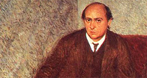Arnold Schoenberg, painted by Richard Gerstl - the expressionist artist with a peculiar relatinship to the Schoenbergs
