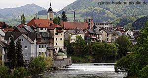 The old town of Steyr in Upper Austria, as seen from the river