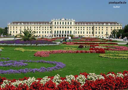Schönbrunn Palace was built during the peak of Habsburg power in Baroque style
