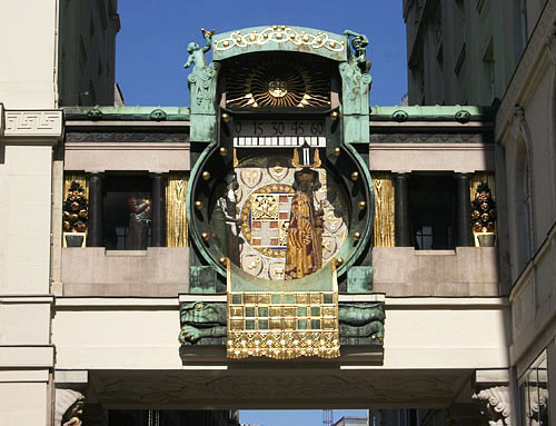 Ankeruhr, a well-known Art Nouveau Clock in Vienna
